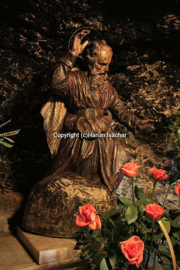 Israel, Haifa, a statue of Elijah in the crypt of the Carmelite Stella Maris Monastery on Mount Carmel
