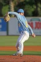 Myrtle Beach Pelicans pitcher Cody Buckel #16 on the mound during a game against the Frederick Keys at Tickerreturn.com Field at Pelicans Ballpark on April 23, 2012 in Myrtle Beach, South Carolina. Myrtle Beach defeated Frederick by the score of 7-1. (Robert Gurganus/Four Seam Images)