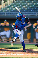 AZL Rangers Keithron Moss (24) at bat during an Arizona League game against the AZL Athletics Gold on July 15, 2019 at Hohokam Stadium in Mesa, Arizona. The AZL Athletics Gold defeated the AZL Rangers 9-8 in 11 innings. (Zachary Lucy/Four Seam Images)