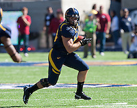 October 20th, 2012: California's Eric Stevens runs down the field after catching the ball thrown by Zach Maynard (not pictured) during a game against Stanford at Memorial Stadium at Berkeley, Ca   Stanford defeated California 21 - 3