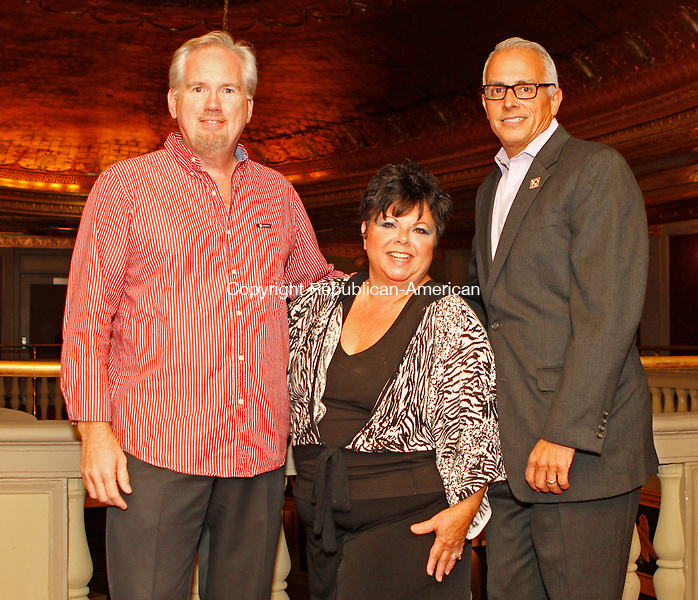 Waterbury, CT092014MK04 (from left)  Tom Chute, Sherrie Marucci, marketing office with Frank Tavera CEO, gathered recently to celebrate Headlines and Headliners, a musical revue in celebration of the Palace Theater's tenth anniversary season and long-time media partner WATR Radio 1320AM's eightieth anniversary on the air,. Michael Kabelka / Republican-American