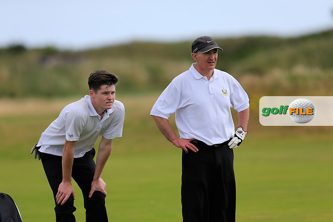Niall Ahern and Ronan O'Houlihan (Nass) during the Leinster semi final of the Jimmy Bruen, Royal Dublin Golf Club,Dublin, Ireland.  01/08/2015.<br /> Picture: Golffile | Fran Caffrey<br /> <br /> <br /> All photo usage must carry mandatory copyright credit (&copy; Golffile | Fran Caffrey)
