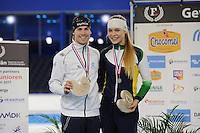 SCHAATSEN: HEERENVEEN: 03-02-2017, KPN NK Junioren, Podium Junioren A, 500m, Thijs Govers, Jutta van Leerdam, ©foto Martin de Jong