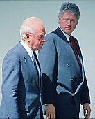 United States President Bill Clinton and Prime Minister Yitzhak Rabin of Israel walk on the Colonnade of the White House en route to the Residence in Washington, DC on March 16, 1994.<br /> Credit: Howard L. Sachs / CNP
