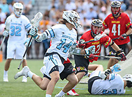 Baltimore, MD - April 28, 2018: Johns Hopkins Blue Jays Cole Williams (14) in action during game between John Hopkins and Maryland at  Homewood Field in Baltimore, MD.  (Photo by Elliott Brown/Media Images International)