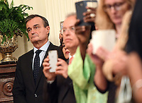 Gerard Araud, the French Ambassador to the United States, listens with fellow diplomats as President Barack Obama speaks about the recent attacks in Nice, France, as he address a diplomatic reception in the East Room at the White House in Washington, D.C. on July 15, 2016. A terrorist attack killed at least 84 people celebrating Bastille Day yesterday in Nice. Photo Credit: Kevin Dietsch/CNP/AdMedia