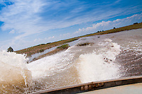 Splashes and waves of the marshes in Everglades national park
