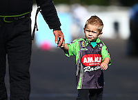 Aug 21, 2016; Brainerd, MN, USA; Cameron McMillen , son of NHRA top fuel driver Terry McMillen during the Lucas Oil Nationals at Brainerd International Raceway. Mandatory Credit: Mark J. Rebilas-USA TODAY Sports