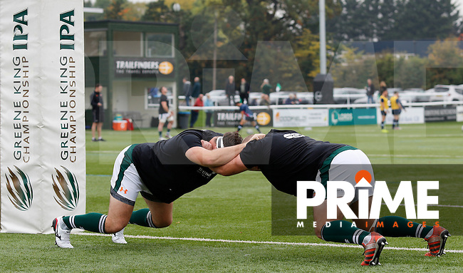 Ealing Trailfinders RFC get their stretches in during the Greene King IPA Championship match between Ealing Trailfinders and Bedford Blues at Castle Bar , West Ealing , England  on 29 October 2016. Photo by Carlton Myrie / PRiME Media