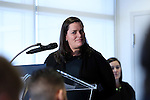 08 December 2016: MLS Communications Director Lauren Brophy Hayes moderates the press conference. Major League Soccer held a press conference with Toronto FC and Seattle Sounders FC at the Kia Training Ground in Toronto, Ontario in Canada two days before MLS Cup 2016.