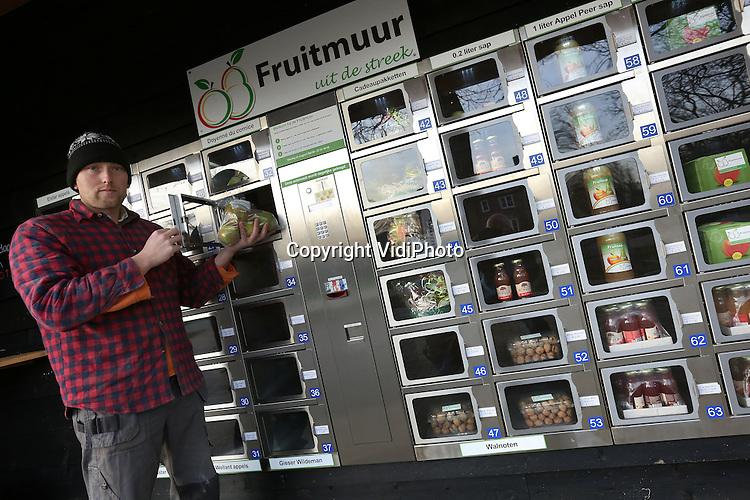 Foto: VidiPhoto<br /> <br /> HEMMEN -Mark Wiggelo uit Hemmen in de Betuwe demonstreert woensdag zijn ultra moderne fruitmuur, tevens het kleinste landwinkeltje van Nederland. De trekautomaat met 48 vakken staat vol met een enorme diversiteit aan gezonde streekproducten, van appels en peren tot noten en complete fruitmanden. Het blijkt een enorm succes. Hoewel het drive-thru landwinkeltje pas vanaf afgelopen zomer actief is, zijn de producten niet aan de slepen. Voordeel is dat de fruitmuur langs twee fietsroutes ligt en voorbijgangers vaak stoppen om even een flesje vruchtensap achterover de slaan of een appeltje te eten. De jonge ondernemer runt de gezonde-snackautomaat samen met zijn broer en ouders. De Wiggelo's hebben een fruitbedrijf en melkveehouderij. De producten worden aangekocht bij telers uit de wijde regio. De fruitmuur is zowel wat prijs als kwaliteit betreft inmiddels een geduchte concurrent voor versmarkten in de buurt. Komende zomer wil Wiggelo de automaat fors vergroten.
