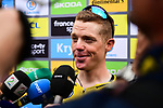 Steven Kruijswijk (NED) talks to the media at sign on before the start of Stage 15 of the 2019 Tour de France running 185km from Limoux to Foix Prat d'Albis, France. 20th July 2019.<br /> Picture: ASO/Alex Broadway | Cyclefile<br /> All photos usage must carry mandatory copyright credit (© Cyclefile | ASO/Alex Broadway)