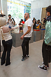 "Fashion designer Ricardo Seco being interviewed at his Ricardo Seco Spring Summer 2019 ""Vision"" collection fashion presentation in Flying Solo, in New York City, on July 9, 2018; during New York Fashion Week: Men's Spring Summer 2019."