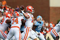 CHAPEL HILL, NC - SEPTEMBER 28: Trevor Lawrence #16 of Clemson University throws a pass during a game between Clemson University and University of North Carolina at Kenan Memorial Stadium on September 28, 2019 in Chapel Hill, North Carolina.