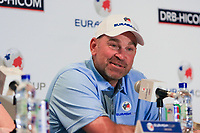 Thomas Bjorn (Captain Team Europe) during an interview after the Saturday Foursomes of the Eurasia Cup at Glenmarie Golf and Country Club on the 13th January 2018.<br /> Picture:  Thos Caffrey / www.golffile.ie