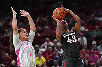 Arkansas' Makayla Daniels takes a shot in front of Kentucky's Sabrina Haines Sunday Feb 9, 2020 at Bud Walton Arena in Fayetteville. Arkansas won 103-85. More images are found at nwaonline.com/uabball/ (NWA Democrat-Gazette/J.T. Wampler)