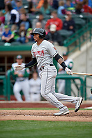 Wisconsin Timber Rattlers shortstop Gilbert Lara (11) follows through on a swing during a game against the Fort Wayne TinCaps on May 10, 2017 at Parkview Field in Fort Wayne, Indiana.  Fort Wayne defeated Wisconsin 3-2.  (Mike Janes/Four Seam Images)