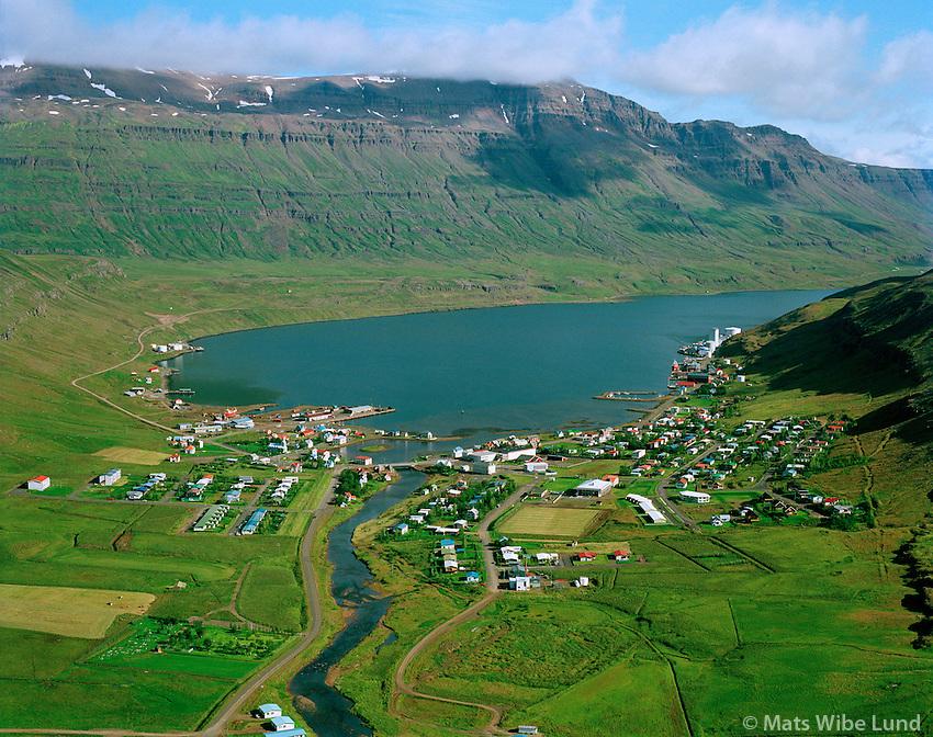 Seyðisfjörður 1998 /.Seydisfjordur, a aerial view out the fiord from above river Fjardara