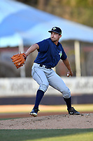 Columbia Fireflies pitcher Jake Simon (17) delivers a pitch during a game against the Asheville Tourists at McCormick Field on April 13, 2018 in Asheville, North Carolina. The Tourists defeated the Fireflies 5-1. (Tony Farlow/Four Seam Images)