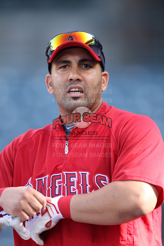 Kendrys Morales #8 of the Los Angeles Angels before a game against the Baltimore Orioles at Angel Stadium on April 20, 2012 in Anaheim,California. Los Angeles defeated Baltimore 6-3.(Larry Goren/Four Seam Images)