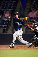 Lakeland Flying Tigers catcher Andres Sthormes (37) hits a single during the second game of a doubleheader against the Tampa Tarpons on May 31, 2018 at George M. Steinbrenner Field in Tampa, Florida.  Lakeland defeated Tampa 3-2.  (Mike Janes/Four Seam Images)