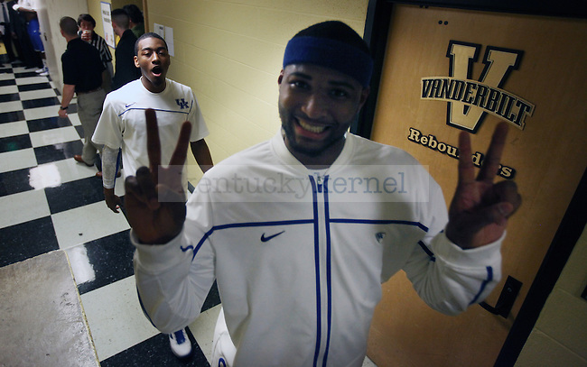 DeMarcus Cousins and John Wall cheese for the camera before the first half of UK's game vs. Vandy at Memorial Gymnasium in Nashville on Saturday, Feb. 20. 2010. Photo by Britney McIntosh | Staff