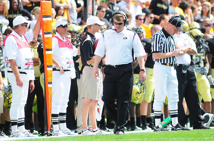 06 September 08: Colorado head coach Dan Hawkins during a game against Eastern Washington. The Colorado Buffaloes defeated the Eastern Washington Eagles 31-24 at Folsom Field in Boulder, Colorado. FOR EDITORIAL USE ONLY