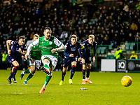 12th February 2020; Easter Road, Edinburgh, Scotland; Scottish Premiership Football, Hibernian versus Ross County; Marc McNulty of Hibernian misses the penalty kick