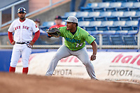 Lynchburg Hillcats first baseman Emmanuel Tapia (28) braces to receive a throw during a game against the Salem Red Sox on May 10, 2018 at Haley Toyota Field in Salem, Virginia.  Lynchburg defeated Salem 11-5.  (Mike Janes/Four Seam Images)