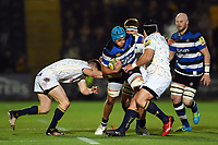 Zach Mercer of Bath Rugby takes on the Worcester Warriors defence. Aviva Premiership match, between Worcester Warriors and Bath Rugby on January 5, 2018 at Sixways Stadium in Worcester, England. Photo by: Patrick Khachfe / Onside Images