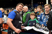 David Wilson of Bath Rugby mingles and signs autographs with supporters at the end of the session. Bath Rugby Captain's Run on October 30, 2015 at the Recreation Ground in Bath, England. Photo by: Patrick Khachfe / Onside Images