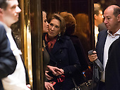 Former Republican presidential primary candidate Carly Fiorina is seen in an elevator in lobby of Trump Tower in New York, NY, USA December 12, 2016. <br /> Credit: Albin Lohr-Jones / Pool via CNP