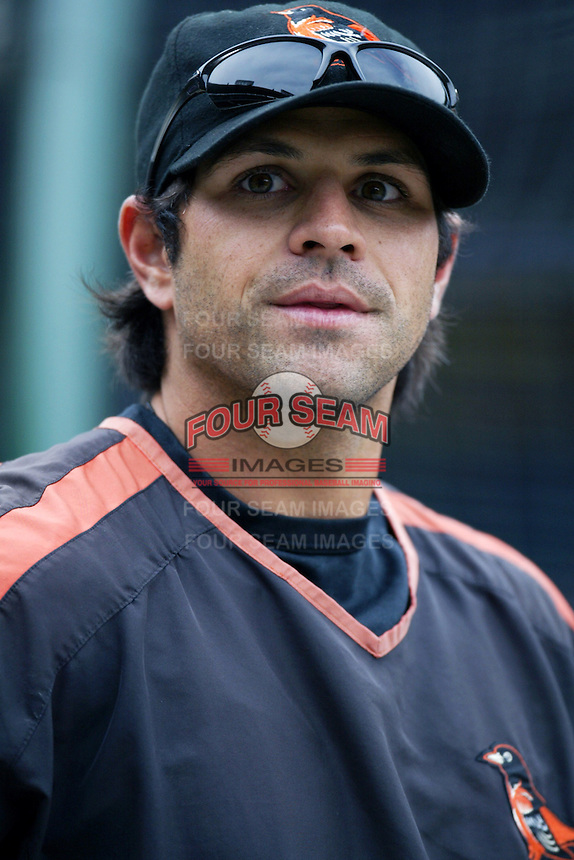 Brian Roberts of the Baltimore Orioles during batting practice before a game from the 2007 season at Angel Stadium in Anaheim, California. (Larry Goren/Four Seam Images)