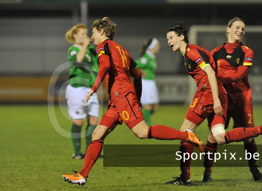 UEFA Women's Euro Qualifying group stage (Group 3) -  KFC Dessel - Armand Melis Stadion : BELGIUM -Northern Ireland ( Belgie - Noord Ierland ) : vreugde bij Aline Zeler en Heleen Jaques na een doelpunt..foto DAVID CATRY / Vrouwenteam.be / Loft6.be