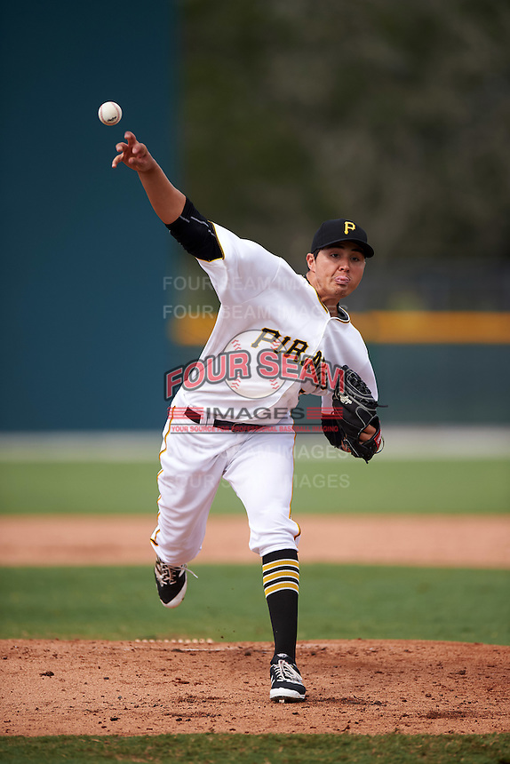 GCL Pirates relief pitcher Eduardo Vera (54) during a game against the GCL Phillies on August 6, 2016 at Pirate City in Bradenton, Florida.  GCL Phillies defeated the GCL Pirates 4-1.  (Mike Janes/Four Seam Images)