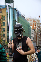 "Spain. Province of Madrid. Madrid. Celebration of the ""Feliz Dia Frikis"". May 25th is the International Freak Pride's Day. The word freak when used in a slang context has positive connotations. It can be used to describe one who denotes a strong fondness or even obsession with a particular activity, like a passion for Star Wars. Downtown. Town center. Santo Domingo place. © 2007  Didier Ruef"