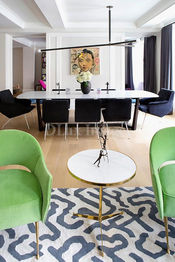 Modern green armchairs