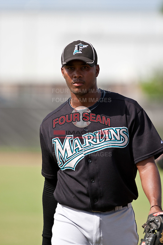 Alfredo Buret of the Gulf Coast League Marlins at the Osceola Heritage Park in Kissimmee, Florida July 22 2010. Photo By Scott Jontes/Four Seam Images