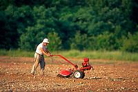 A farmer roto-tills his garden.