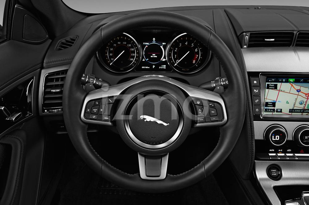 Car pictures of steering wheel view of a 2018 Jaguar F-Type Base 2 Door Convertible