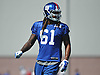 Ishaq Williams #61, New York Giants rookie linebacker, performs coverage drills during practice at Quest Diagnostics Training Center in East Rutherford, NJ on Monday, Aug. 29, 2016.