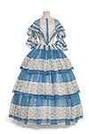 robe en 2 parties. 1854-1855.<br /><br />canezou<br /><br />Organdi imprim&eacute; au rouleau, &agrave; disposition<br />hauteur (en cm)  tour de taille corsage (en cm)  carrure dos (en cm) : (corsage)<br />Achat gr&acirc;ce au soutien de Louis Vuitton, 2013<br />n&deg; inventaire: 2013.135.1.1-2