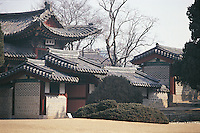 Elaborate patterns of roofs shelter pavilions in Changdeokgung, or the Palace of Illustrious Virtue. This palace was originally built between 1405 and 1412 but it has often been burned down and rebuilt.