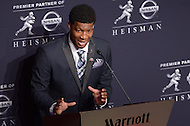 Jameis Winston holds a media availability after winning the 2013 Heisman Memorial Trophy. Winston became the second freshman in Heisman Trophy history to win the award. As quarterback of the Florida State Seminoles, he led the team to an undefeated season and the ACC championship.  (Photo by Don Baxter/Media Images International)