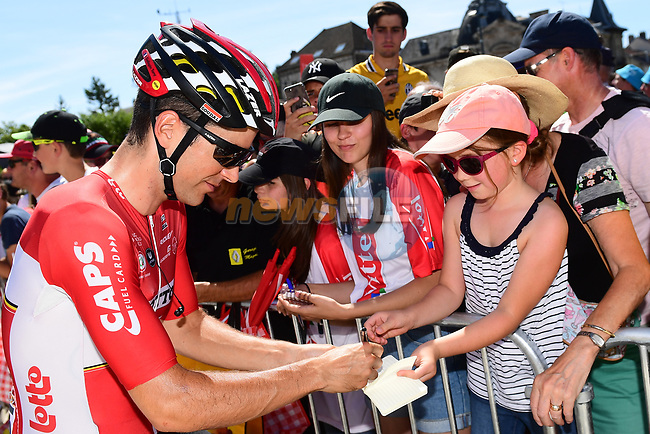 Tony Gallopin (FRA) Lotto-Soudal with fans at sign on before the start of Stage 6 of the 104th edition of the Tour de France 2017, running 216km from Vesoul to Troyes, France. 6th July 2017.<br /> Picture: ASO/Alex Broadway | Cyclefile<br /> <br /> <br /> All photos usage must carry mandatory copyright credit (&copy; Cyclefile | ASO/Alex Broadway)