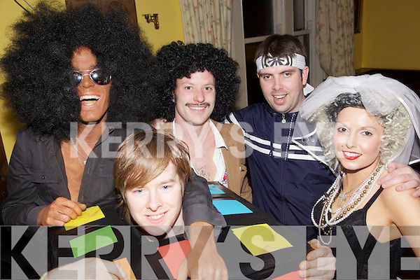 80s Night - Having a ball at the Valentine's 80s night held in Flahive's Bar, Ballyheigue on Saturday night were l/r James Leen, Patrick Barrett, James Walsh and Claire Godley......................................................................................................................................................................................................................................................................................... ............