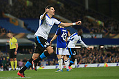 28th September 2017, Goodison Park, Liverpool, England; UEFA Europa League group stage, Everton versus Apollon Limassol; Hector Yuste of Apollon Limassol celebrates his 88th minute equaliser