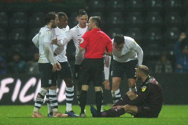 Preston North End's Josh Earl is sent off by ref Keith Stroud<br /> <br /> Photographer Mick Walker/CameraSport<br /> <br /> The EFL Sky Bet Championship - Preston North End v Swansea City - Saturday 12th January 2019 - Deepdale Stadium - Preston<br /> <br /> World Copyright &copy; 2019 CameraSport. All rights reserved. 43 Linden Ave. Countesthorpe. Leicester. England. LE8 5PG - Tel: +44 (0) 116 277 4147 - admin@camerasport.com - www.camerasport.com