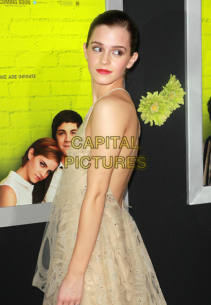 """Emma Watson.Premiere Of Summit Entertainment's """"The Perks Of Being A Wallflower"""" Held At ArcLight Cinemas, Hollywood, California, USA..September 10th, 2012.half length beige sleeveless tiered layered layers dress lace tulle side red lipstick backless .CAP/ADM/KB.©Kevan Brooks/AdMedia/Capital Pictures."""