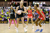 20.01.2018 Samantha Sinclair of Silver Ferns and Serena Guthrie of the England Roses during the Netball Quad Series netball match between England Roses and Silver Ferns at the Copper Box Arena in London. Mandatory Photo Credit: ©Ben Queenborough/Michael Bradley Photography